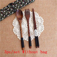 Load image into Gallery viewer, Wood Portable Tableware Wooden Cutlery Sets Travel Dinnerware Suit Environmental with Cloth Pack Gift