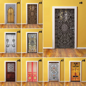 3D Home Decor DIY Door PVC Waterproof Print Environmental Classical Pattern Protection Sticker Self Adhesive Art Paper Bedroom
