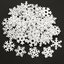 Load image into Gallery viewer, 50PCS 35mm Mix Shape Wooden White Snowflakes Christmas Ornaments Xmas Pendants New Year Christmas Decorations for Home