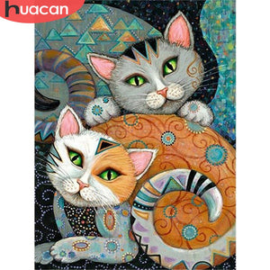 Abstract Cat 5D Crystal Paintings Decorative DIY Home Decoration Round Square Diamonds Do It Yourself Art Project Relaxation Therapy