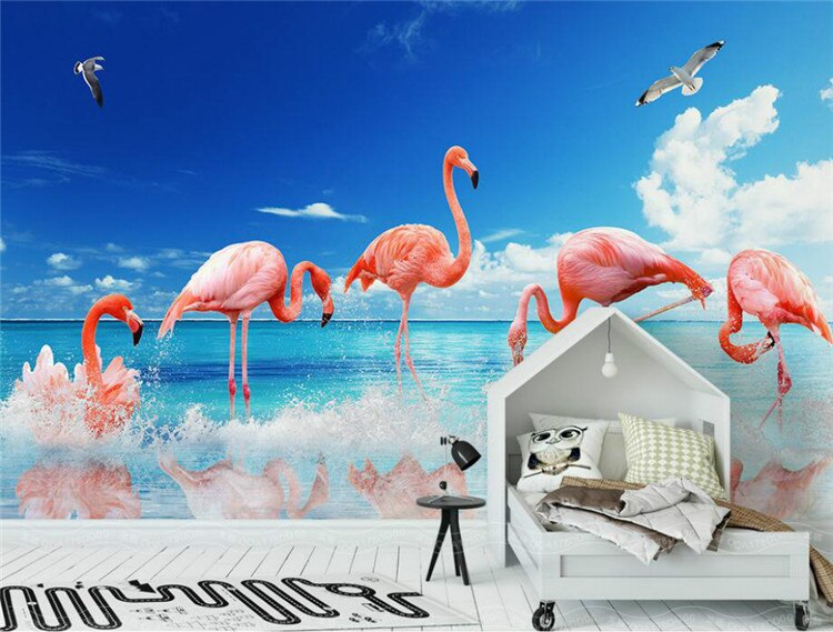 3D Wallpaper Home Improvement for Walls 3d Decorative Vinyl Wall Paper Modern minimalist flamingo background wall wallpapers