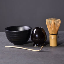 Load image into Gallery viewer, 4pcs/set traditional japanese tea sets matcha gift-set bamboo matcha whisk scoop ceremic Matcha Bowl Whisk Holder