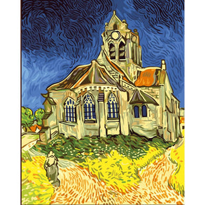 "Vincent Van Gogh ""The Church at Auvers"" 5D Diamond Painting Kit Full AB Drills Kits for Adults Kids DIY Mosaic Cross Stitch Pattern Handmade Embroidery Kits Wall Décor"