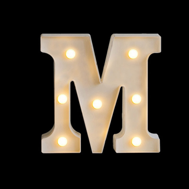 Creative 26 Letter Luminous LED Night Light English Alphabet Battery Lamp Romantic Wedding Party Decoration Christmas Gift 16cm