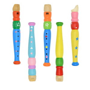 Wooden Kid Short Flute Sound Musical Instrument Early Education Develop Type 6-Holes Recorder Woodwind Musical Instruments