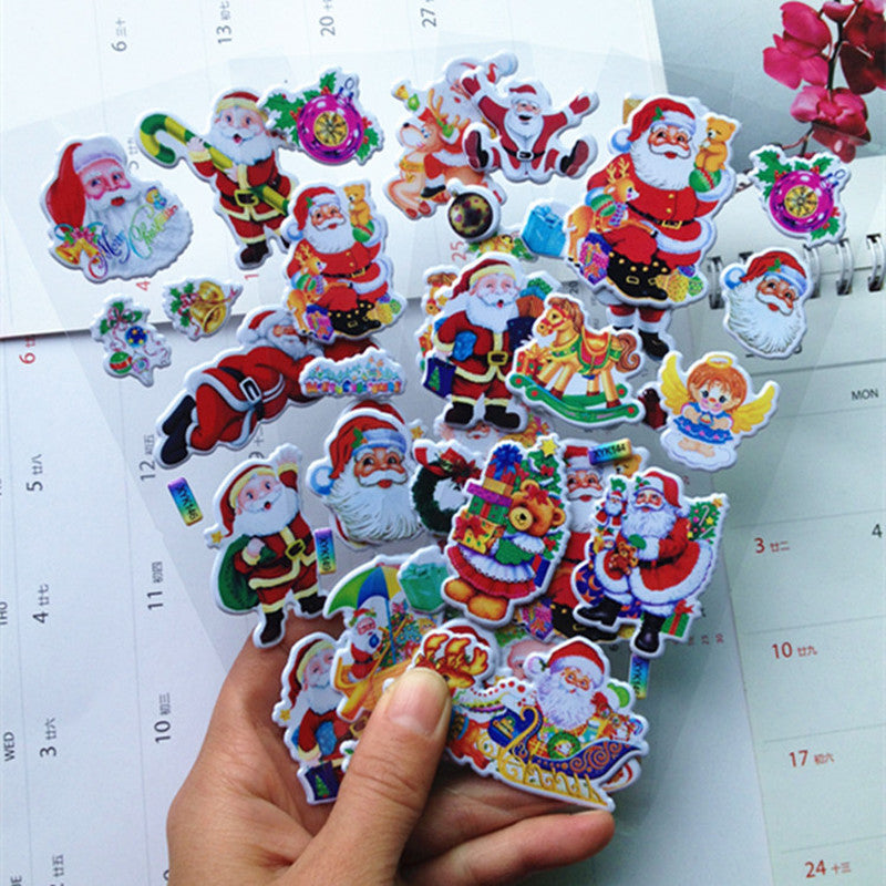 5Pcs Christmas Gifts 3D Carton Merry Christmas Puffy Stickers Bubble Sticker Santa Claus Xmas Decor for Kids