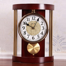Load image into Gallery viewer, European Retro Solid Wood Table Clock Vintage Metal Wall Clock Living Room Office Fashion Creative American Ornaments Desk Clock