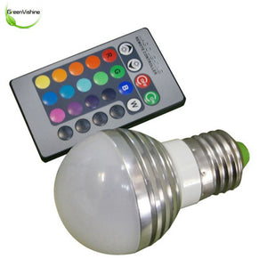 LED Lamp AC85-265V 3W E27 Led 16 Color Bulb Changeable Lamp Multiple Color With Remote Control Led Lighting