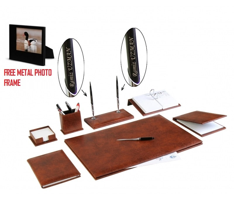 9 pcs Office Business Leather Desk Table Pad Accessories Set Desk Set Free Metal Photo Frame GIFT