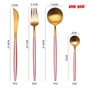 Spklifey Dinnerware Set Stainless Steel Cutlery Set Spoon Fork Knife Western Steel Cutlery Set Kitchen Accessories for Home
