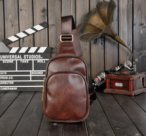 Vintage diagonal cross bag chest bag men's  PU leather shoulder bag