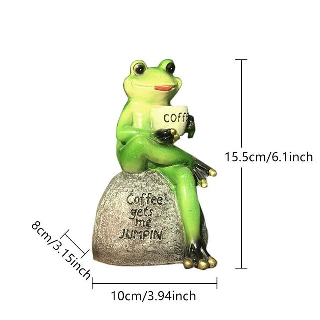 Frog Drinking Coffee Ornaments Resin Frog Animal Garden Sculpture Flowerpot Decor For Home Desk Garden Ornament Micro Landscape