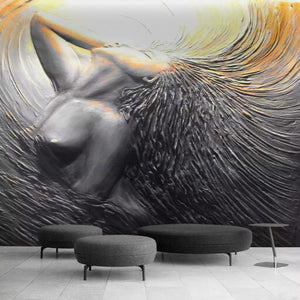 Home Improvement Wall Paper 3D Three-dimensional Embossed Sexy Beauty Mural Wallpapers for Living Room Gray Papel De Parede 3D
