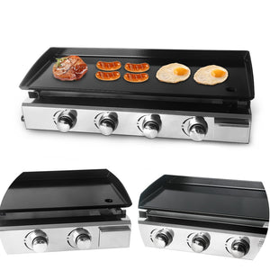 ITOP 2/3/4 Burners Gas Grills BBQ Plancha Steak Beaf Frying LPG Gas Griddle Plancha Iron Cooking Plate Outdoor Teppanyaki Tools