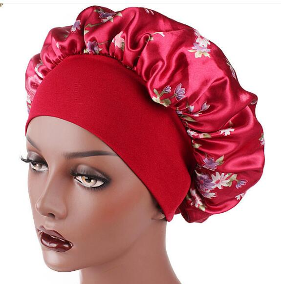 Beautiful Satin Floral Print Wide-brimmed Hair Chemotherapy Hat Hair Cap Satin print hairband nightcap chemotherapy hat