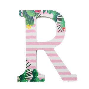 26 Alphabet Word White Wooden English Letters Tropic Theme Personalized Name Design DIY Wood Craft Art Wedding Home Decor