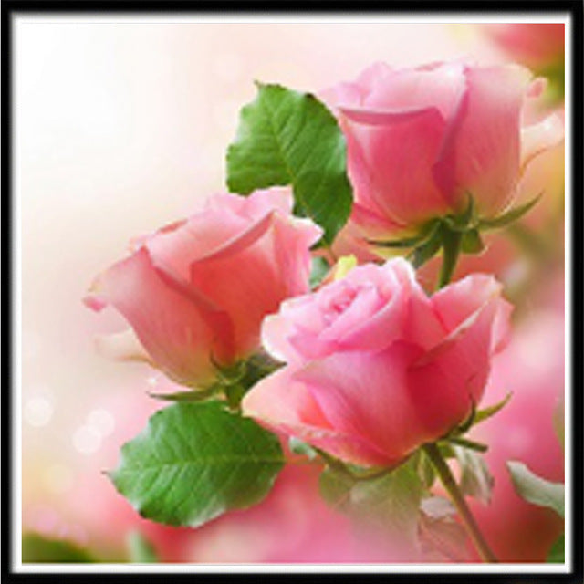 5D diamond painting DIY landscape flower pink color rose 5D diamond embroidery diamond embroidery handmade cross stitch kit