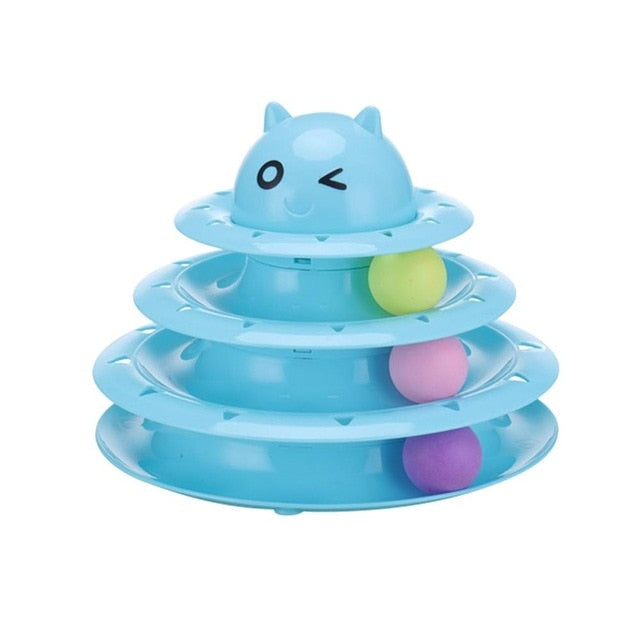 Funny Pet Interactive Toy Cat Colorful 3/4-Layer Plastic Tower Tracks Toy With Balls For IQ Traning