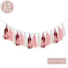 Load image into Gallery viewer, Happy Birthday Paper Banner Rose Gold Tassel Garland Party Decorations Adult Kids Baby First Boy Girl Confetti Balloon Supplies