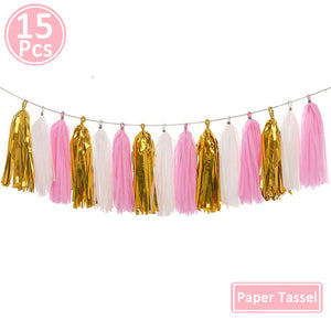 Happy Birthday Paper Banner Rose Gold Tassel Garland Party Decorations Adult Kids Baby First Boy Girl Confetti Balloon Supplies