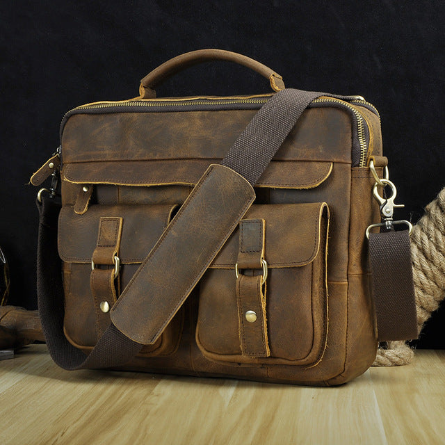 Men's Real Leather Antique Style Coffee Briefcase Business 13