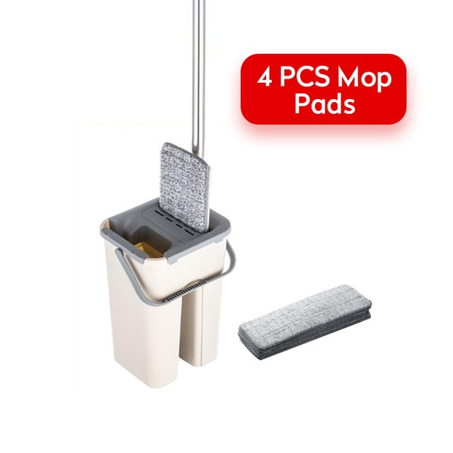 Kitchen Floor Spin Mop Cleaner 360 Rotating Magic Flat Mop And Bucket for Wash Floor Home Cleaning with Microfiber Mop Head