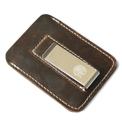 Genuine Leather Money Clip Metal Men Card Pack Slim Bills Cash Clips Clamp for Money Thin Billfold Holder Cheap NEW