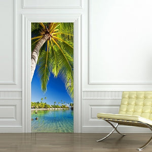 DIY 3D PVC Self Adhesive Wallpaper Beautiful Landscape Door Sticker For Living Room Bedroom Waterproof Mural Decals deursticker