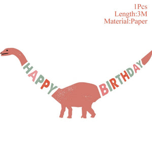 Kids Happy Birthday Banners Dinosaur Party Decor Baby Shower Boys Birthday Party Decorations Kids Safari Party Supplies
