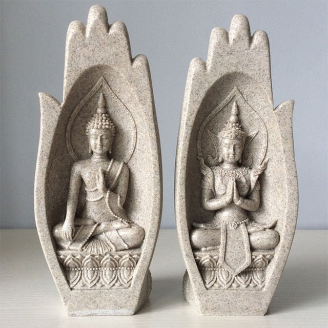 2Pcs Hands Sculptures Buddha Statue Monk Figurine Tathagata India Yoga Home Decoration Accessories Ornaments Dropshipping