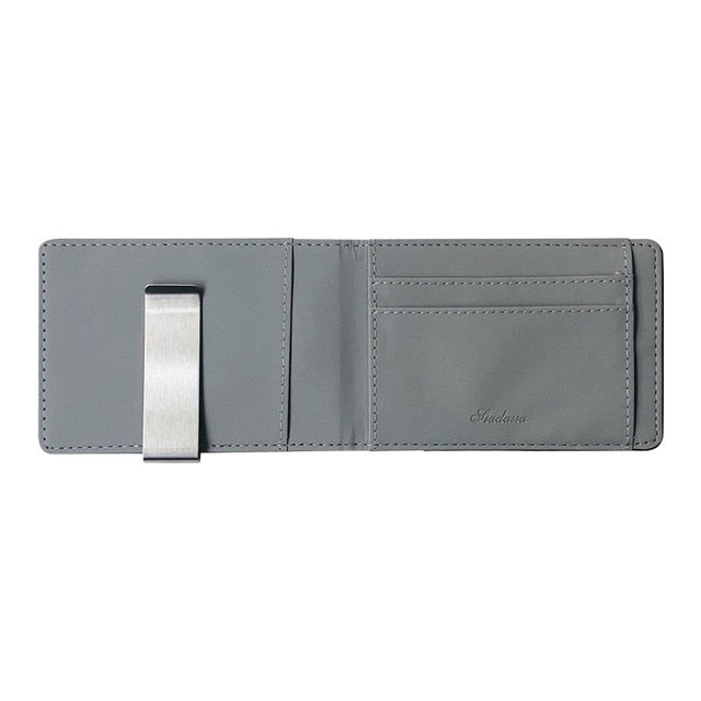 Men's Thin Bi-fold Money Clip Leather Wallet With A Metal Clamp Female ID Credit Card Purse Cash Holder