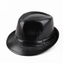 Load image into Gallery viewer, RUBY VICKY Genuine Church Panama Jazz Hat Winter Warm Leather Men's Black Fedora Hat For Gentlemen's