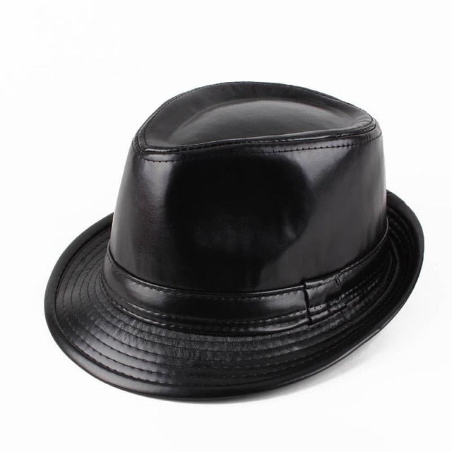 RUBY VICKY Genuine Church Panama Jazz Hat Winter Warm Leather Men's Black Fedora Hat For Gentlemen's