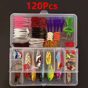 45-139pcs Lure Kit Set Spinner Crankbait Minnow Popper VIB Soft Hard Spoon Crank Baits Fishing Hooks Fishing Tools Tackle Box