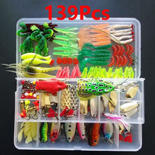 Load image into Gallery viewer, 45-139pcs Lure Kit Set Spinner Crankbait Minnow Popper VIB Soft Hard Spoon Crank Baits Fishing Hooks Fishing Tools Tackle Box
