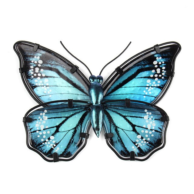 Blue Metal Butterfly Wall Decoration for Home and Garden Decoration Miniaturas Animal Outdoor Statues and Sculptures for Yard