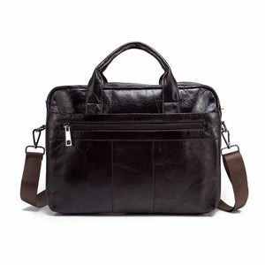 "Genuine Leather Fashion Design Men Coffee Briefcase Business 15"" Computer Laptop Case Attache Messenger Bag Portfolio 9022-b"
