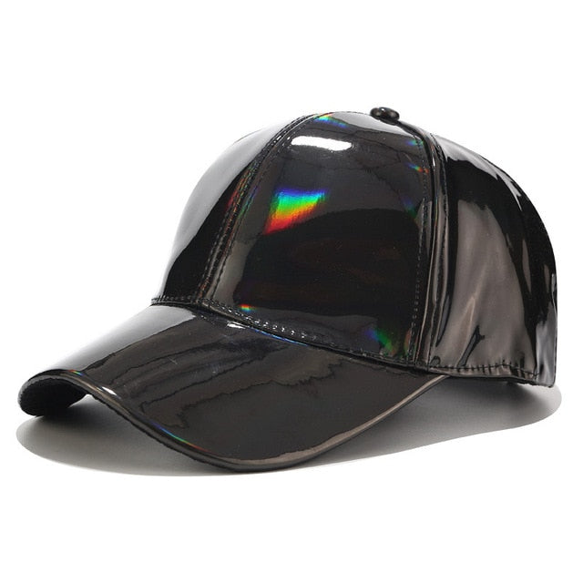 Doitbest laser PU Leather Baseball Cap for men women hip hop Spring snapback Caps suit for Teens Lovers Dance Party hat