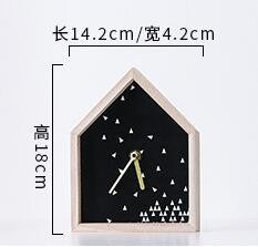 Nordic Style Kids Gift  House Shaped Wooden Table Clock Home Living Room Simple Wooden Desk Clock Office Decor Creative Clock