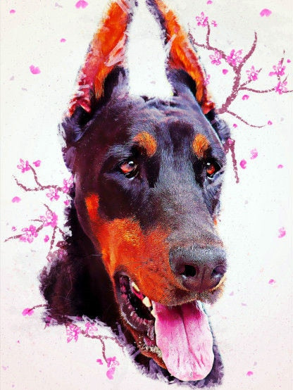 Doberman Pinscher Full Square Diamond Painting Animal Embroidery Dog Picture Handcraft Mosaic Art Kit Home Decoration