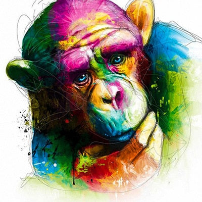 Colorful Monkey in Deep Thought 5D Crystal Art Paintings Decorative DIY Home Decoration Select Round Square Inlay Diamonds Do It Yourself Project ADHD Therapy