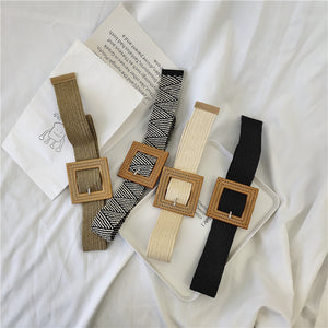 Fashionable Square Buckle Braided Belt Summer Dress Bohemian Belt Women