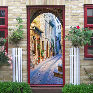 DIY 3D Decorative Wall Papers For The Door Stickers Waterproof Vinyl Design Self Stick View Door Posters