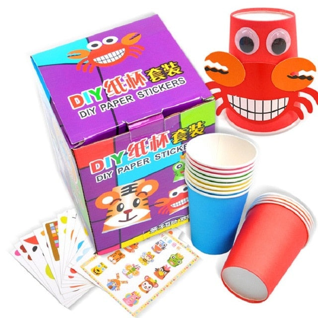 12pcs/set Kids 3D DIY Handmade Paper Cups Sticker Material Kit Children Kindergarten Art Craft Toys Early Educational Toys