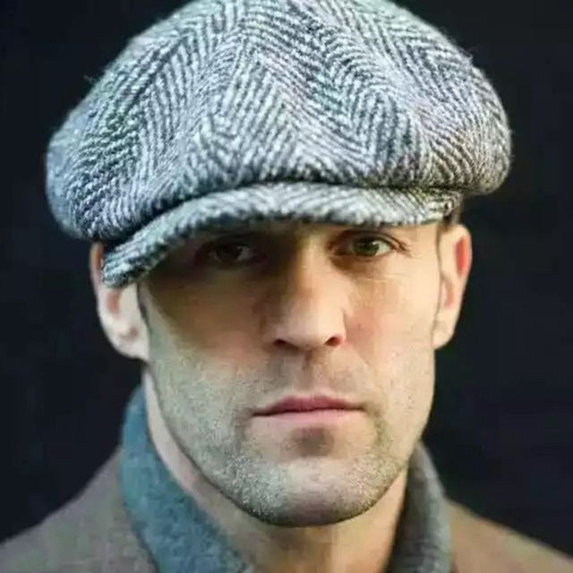 Wool Newsboy Caps Men Herringbone Flat Caps Gatsby Cap Woolen Golf Driving Hats Vintage Inspired Hat Winter Peaky Blinders