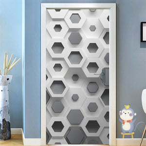 95x215cm Space Geometry Door Sticker Self Adhesive Waterproof Removable Wallpaper Vinyl Wall Decal Posters Home Decor deurposter