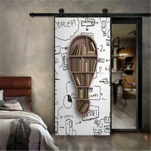 Load image into Gallery viewer, 95x215cm Space Geometry Door Sticker Self Adhesive Waterproof Removable Wallpaper Vinyl Wall Decal Posters Home Decor deurposter