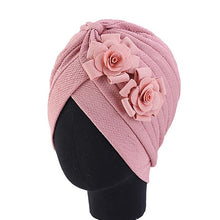 Load image into Gallery viewer, Women Head Scarf Double Large Flower Beanie Hat Head wear Fashion Ruffle Turban Cap