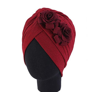 Women Head Scarf Double Large Flower Beanie Hat Head wear Fashion Ruffle Turban Cap