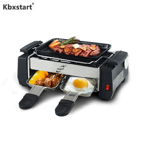 220V Multi-function Electric Griddles Smokeless Barbecue Adjustable Temperature Non-stick Mini Grill 1000W For Picnic